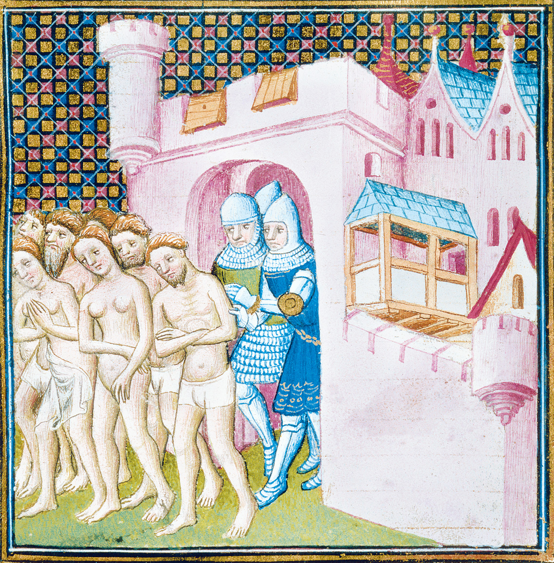 Expulsion of Albigensian heretics from Carcassonne in 1209 during the Albigensian Crusade, from Les Grandes chroniques de France, c. 1350. British Library, London.