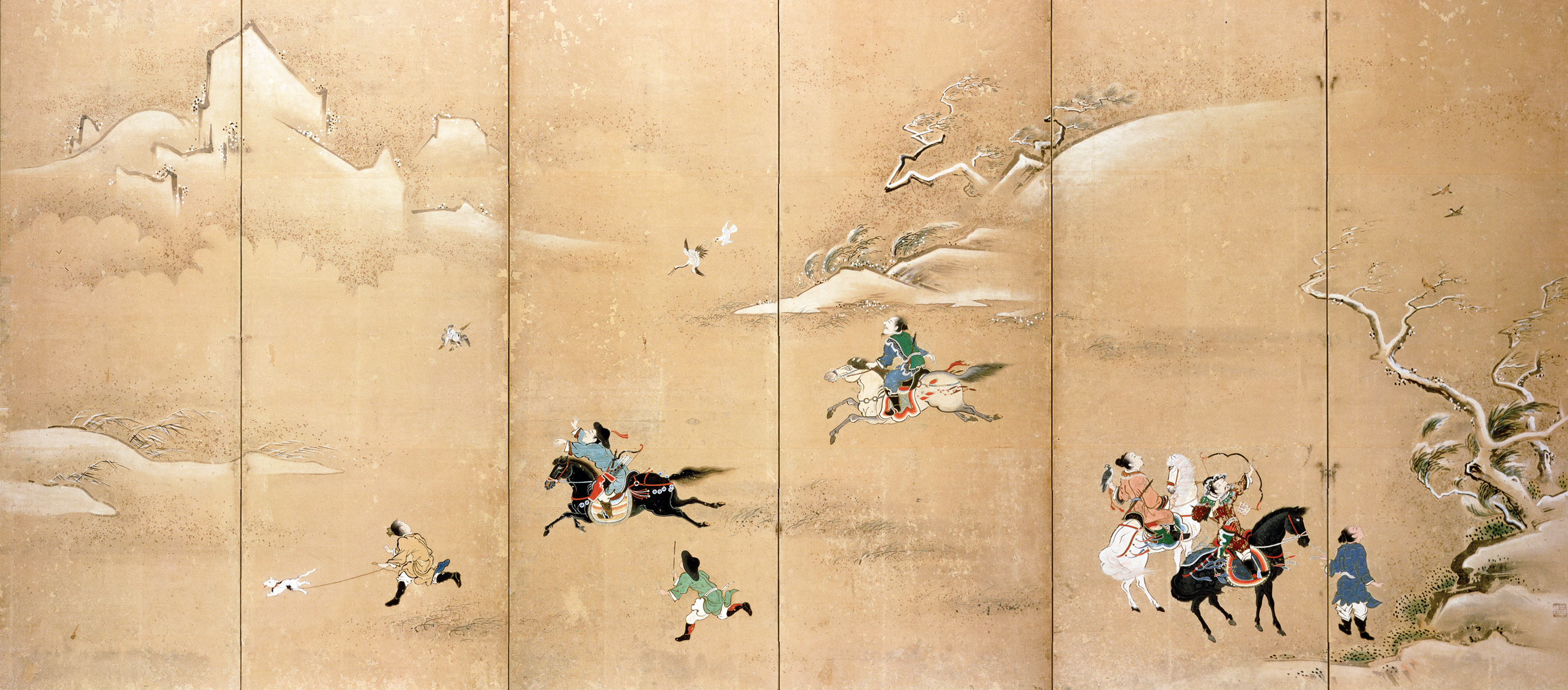 Boar hunt, Japanese folding screen, c. 1800. © Christie's Images/The Bridgeman Art Library International.