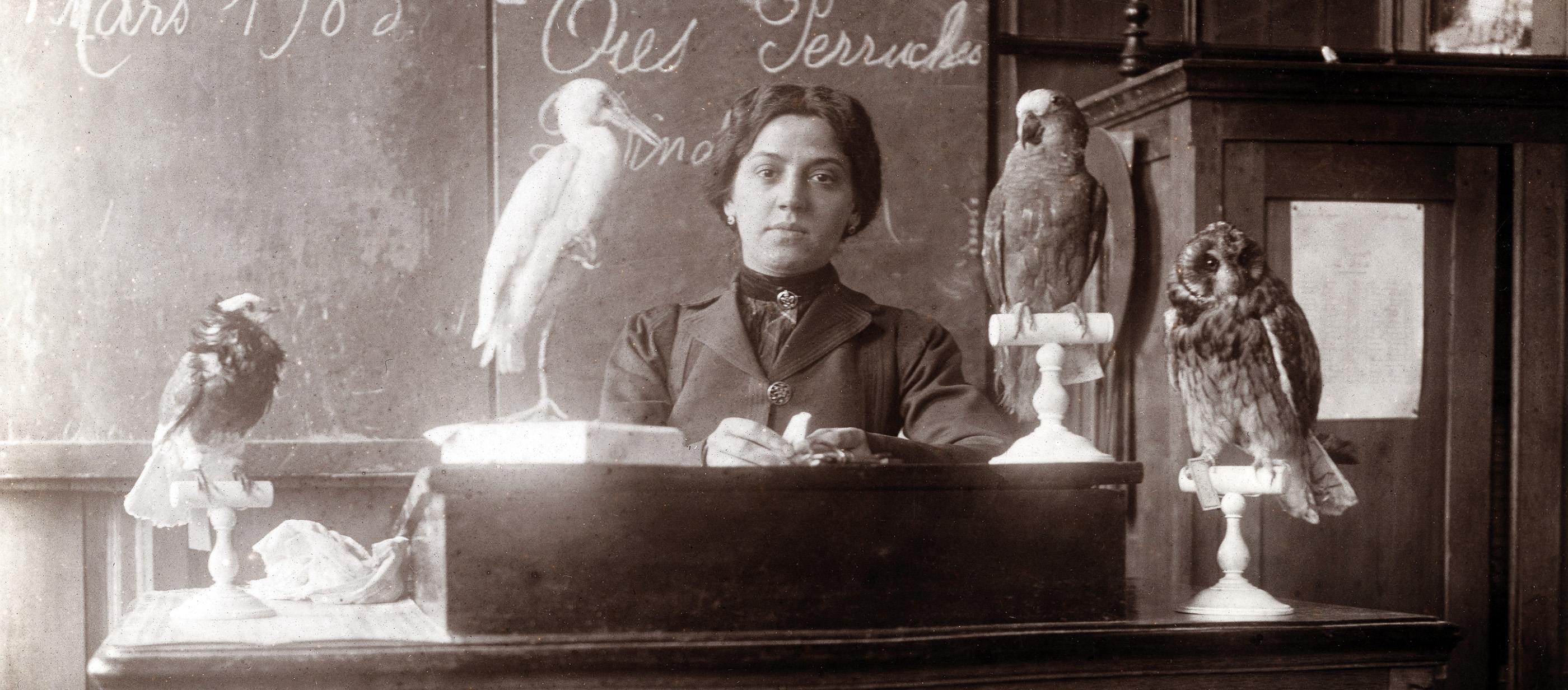 French teacher lectures about birds, 1903.