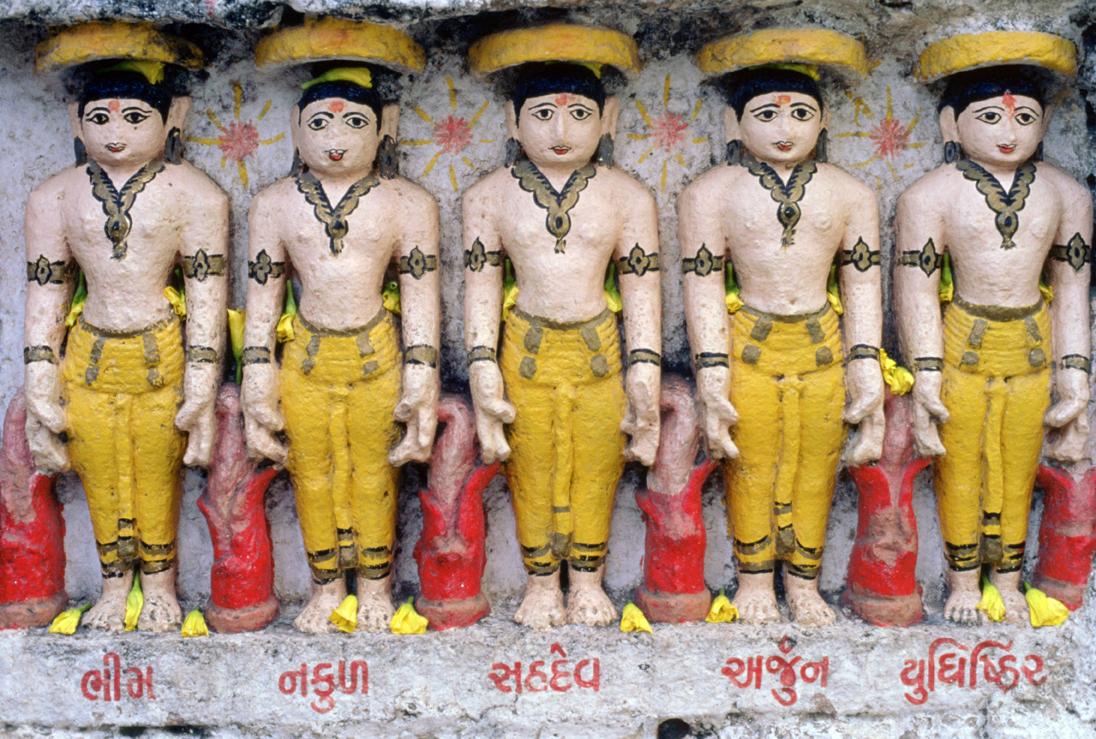 Pandava brothers, victors over the Kauravas in the Kurukshetra War, central story of the Mahabharata, Somnath Temple, Gujarat, India. © Surya Temple/Dinodia/The Bridgeman Art Library International.