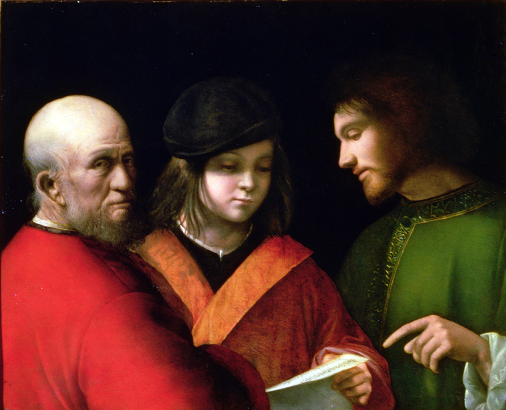 Renissance painting of a young man, a middle aged man, and an old man.