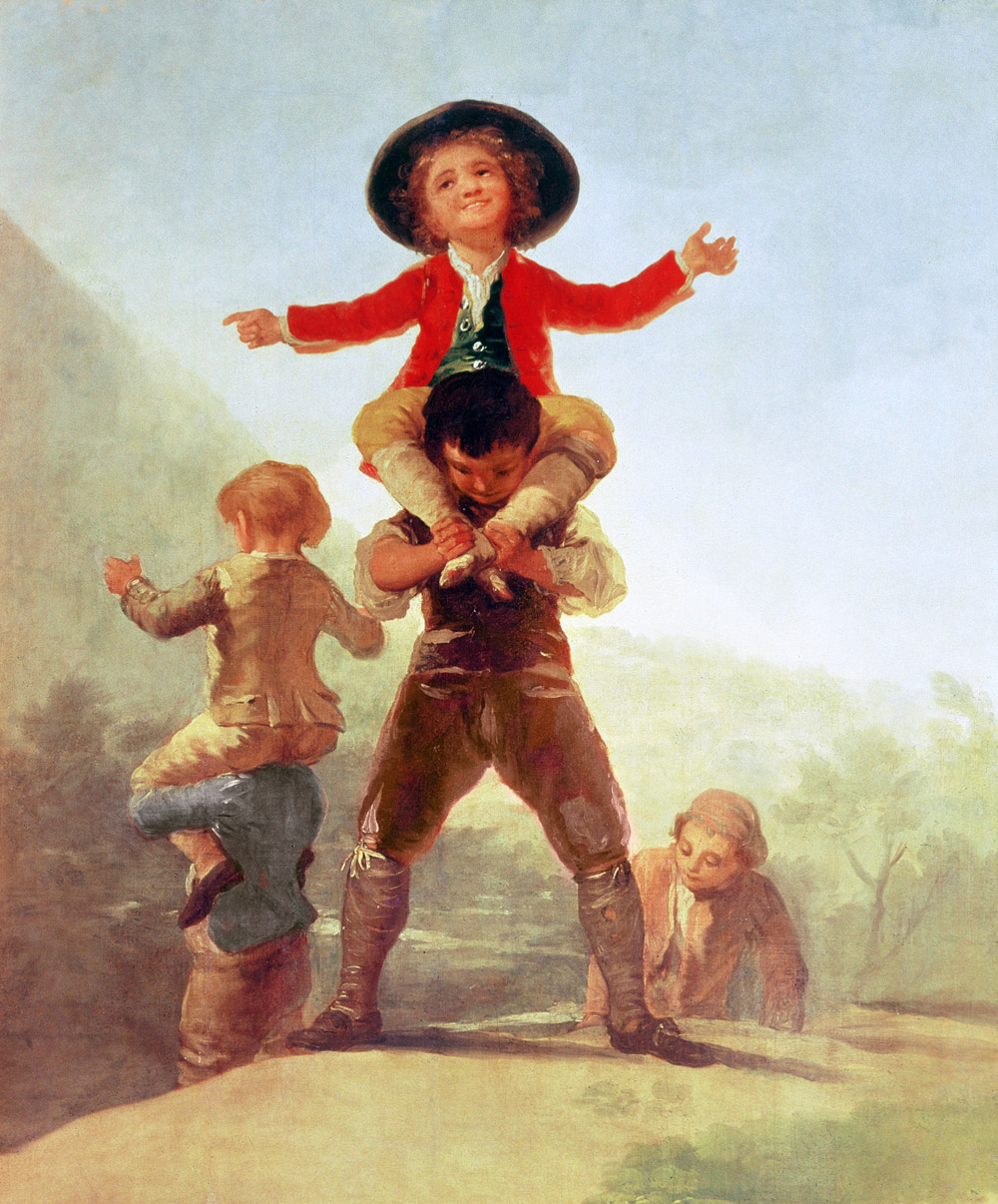 Goya painting showing one child riding on another's shoulders.