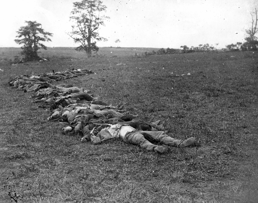 Bodies of Confederate dead gathered for burial after the Battle of Antietam, Sharpsburg, Maryland, 1862. Photograph by Alexander Gardner. United States Library of Congress Prints and Photographs Division Washington, D.C.