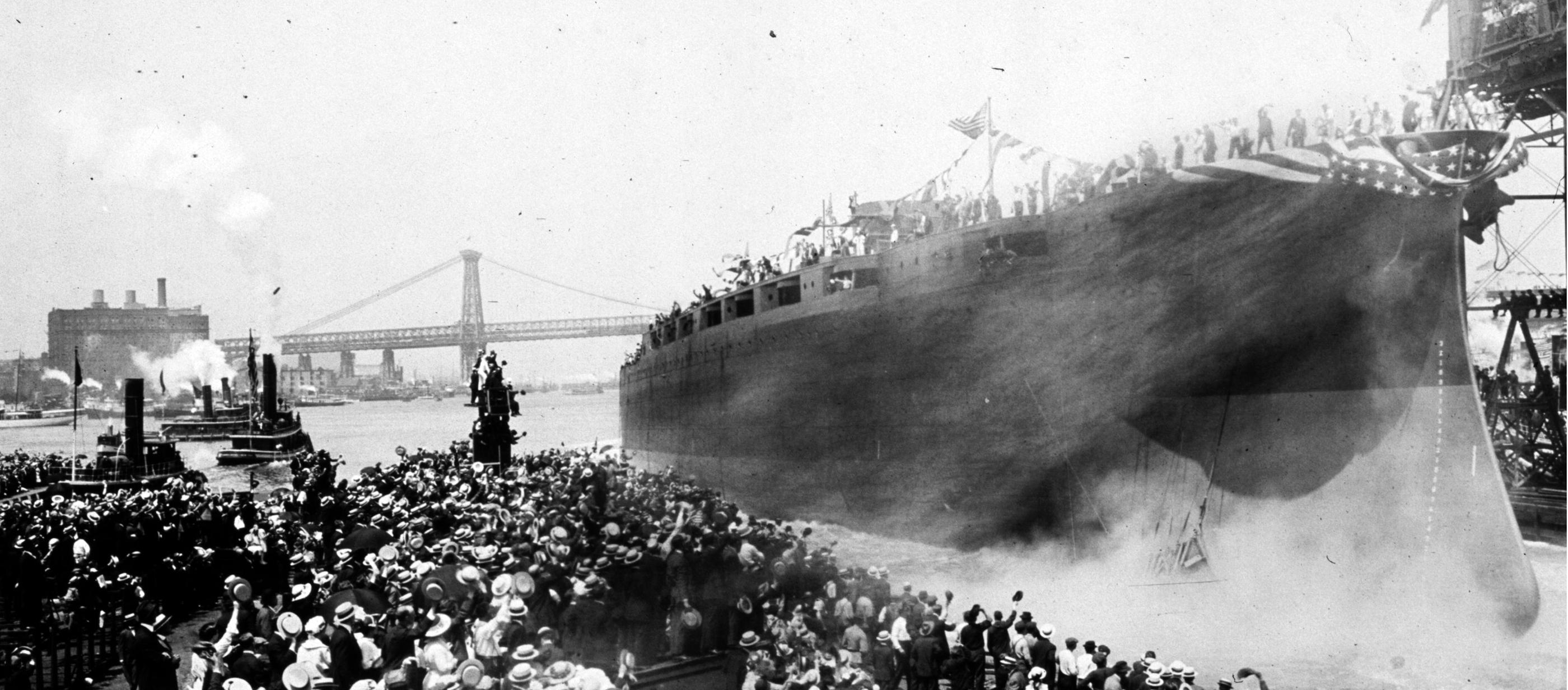 Launching the USS Arizona, Brooklyn Navy Yard, 1915.