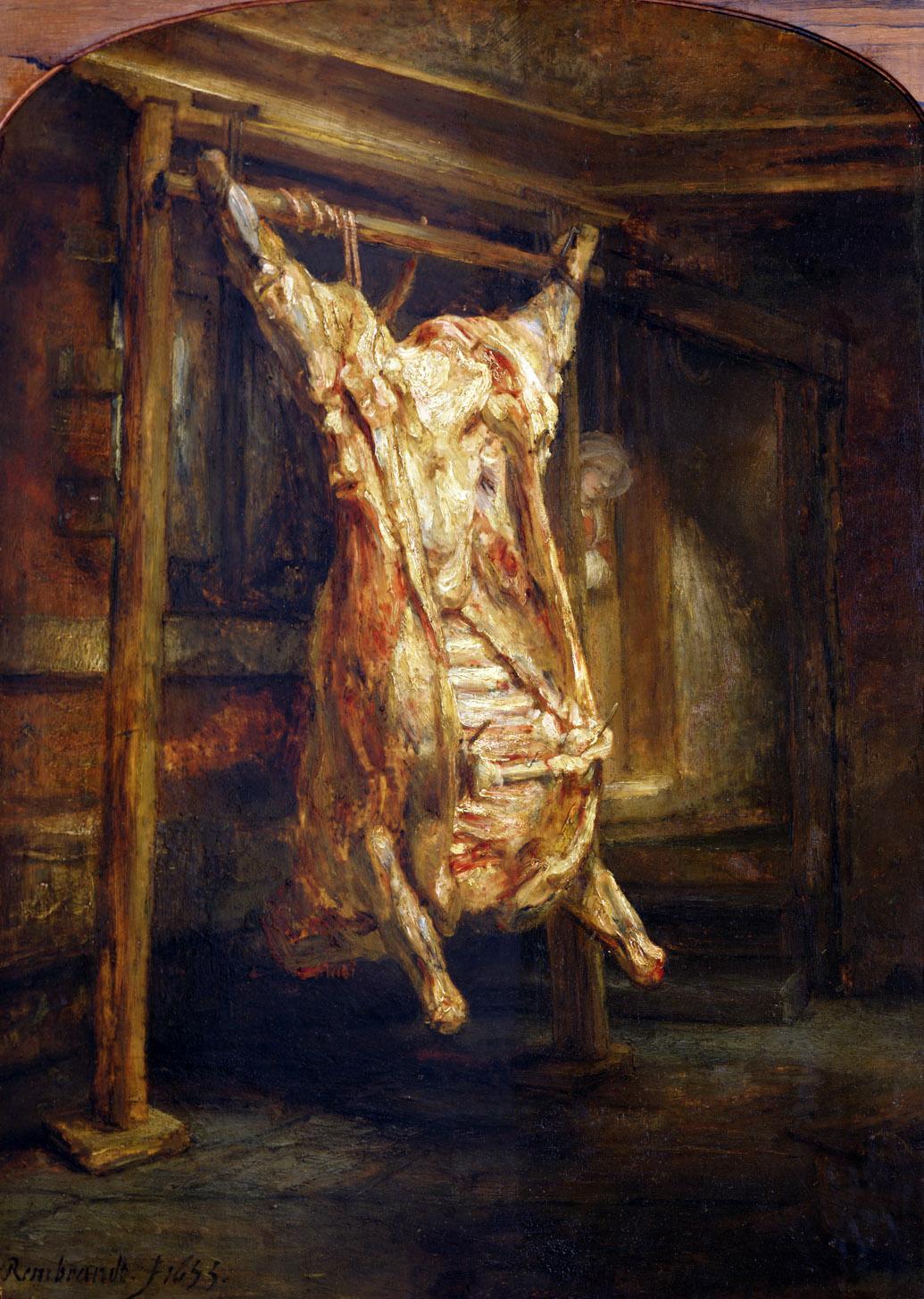 The Slaughtered Ox, by Rembrandt van Rijn, 1655. Louvre Museum, Paris.