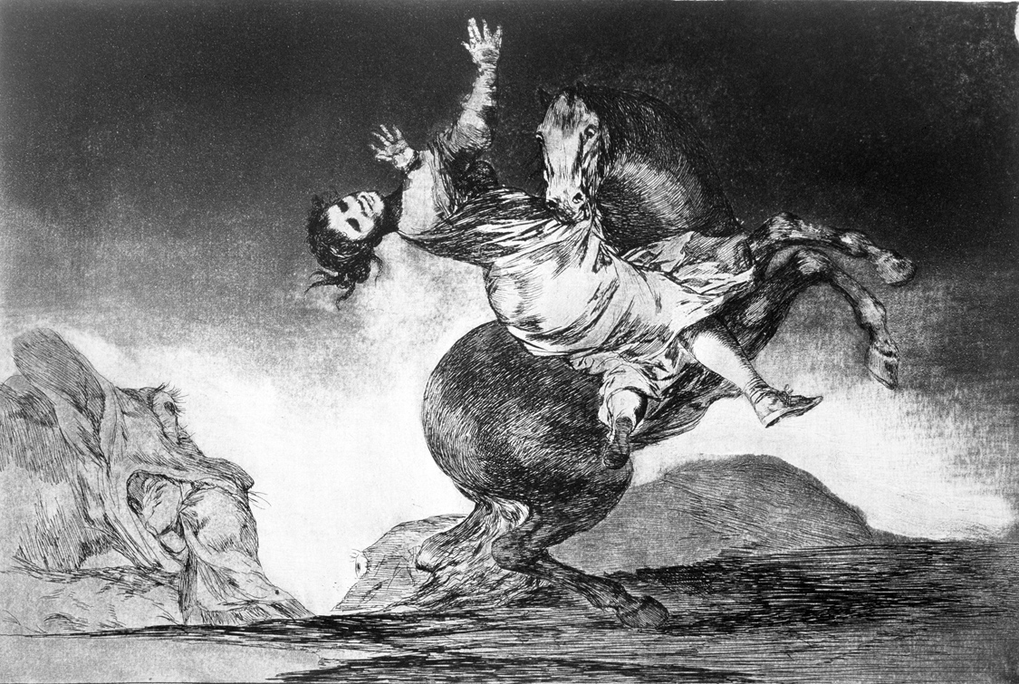 Abducting Horse, from the series Proverbs, by Francisco de Goya y Lucientes, 1815-23. Prado Museum, Madrid.