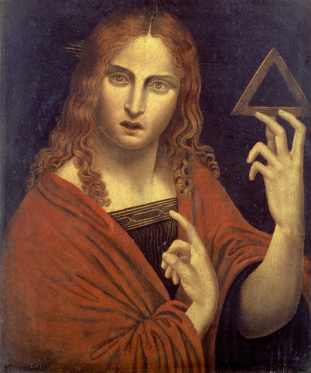 Christ with the Symbol of the Trinity, by Giampietrino, c. 1530. Hermitage Museum, Saint Petersburg.