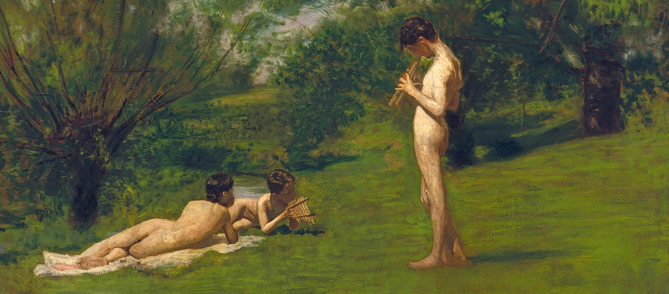 Painting showing two nude young boys relaxing in a field.