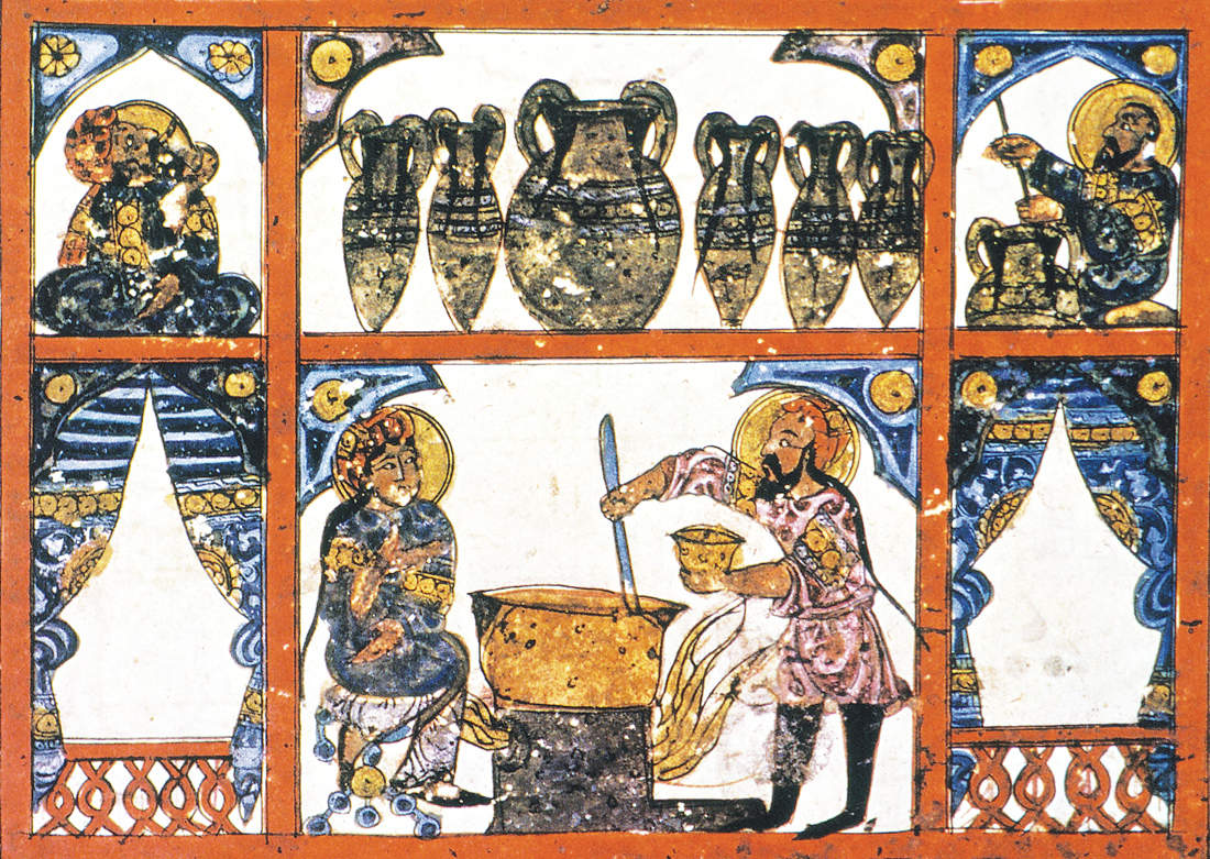 Preparation of medicine from honey, from an Iraqi manuscript of Dioscorides' De Materia Medica, 1224. The Metropolitan Museum of Art, New York, Bequest of Cora Timken Burnett, 1956.
