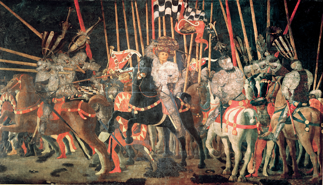 The Counterattack of Michelotto da Cotignola at the Battle of San Romano, by Paolo Uccello, c. 1455. Louvre Museum, Paris.