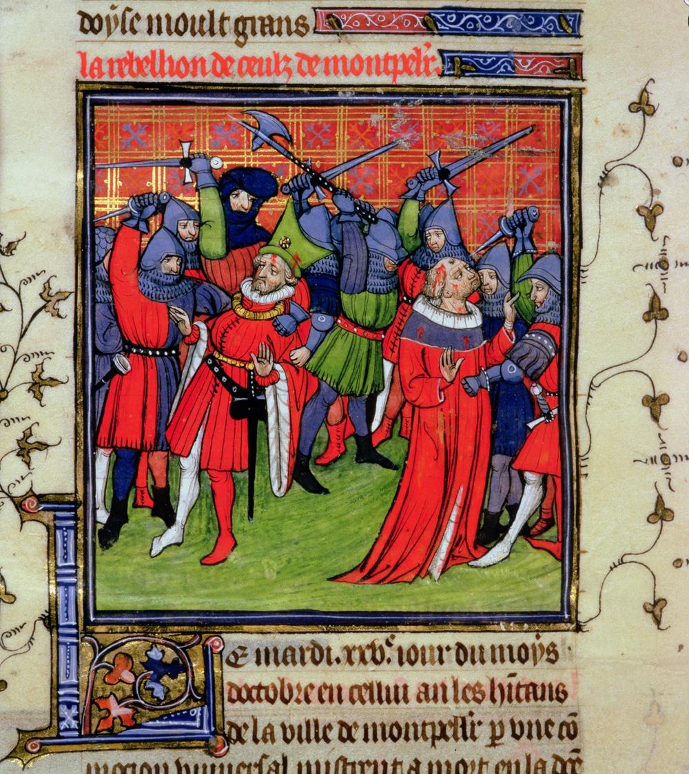 Illuminated manuscript showing a peasant revolt in France.