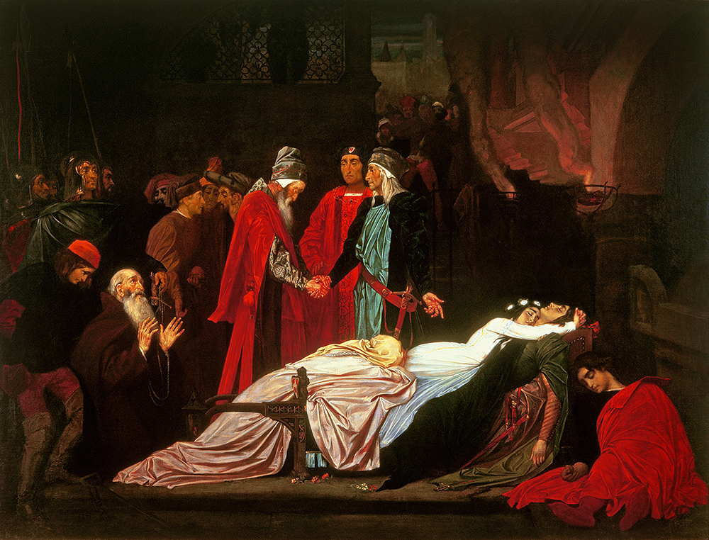 The Reconciliation of the Montagues and the Capulets over the Dead Bodies of Romeo and Juliet, by Frederic Leighton, c. 1855. © Christie's Images / Bridgeman Images.