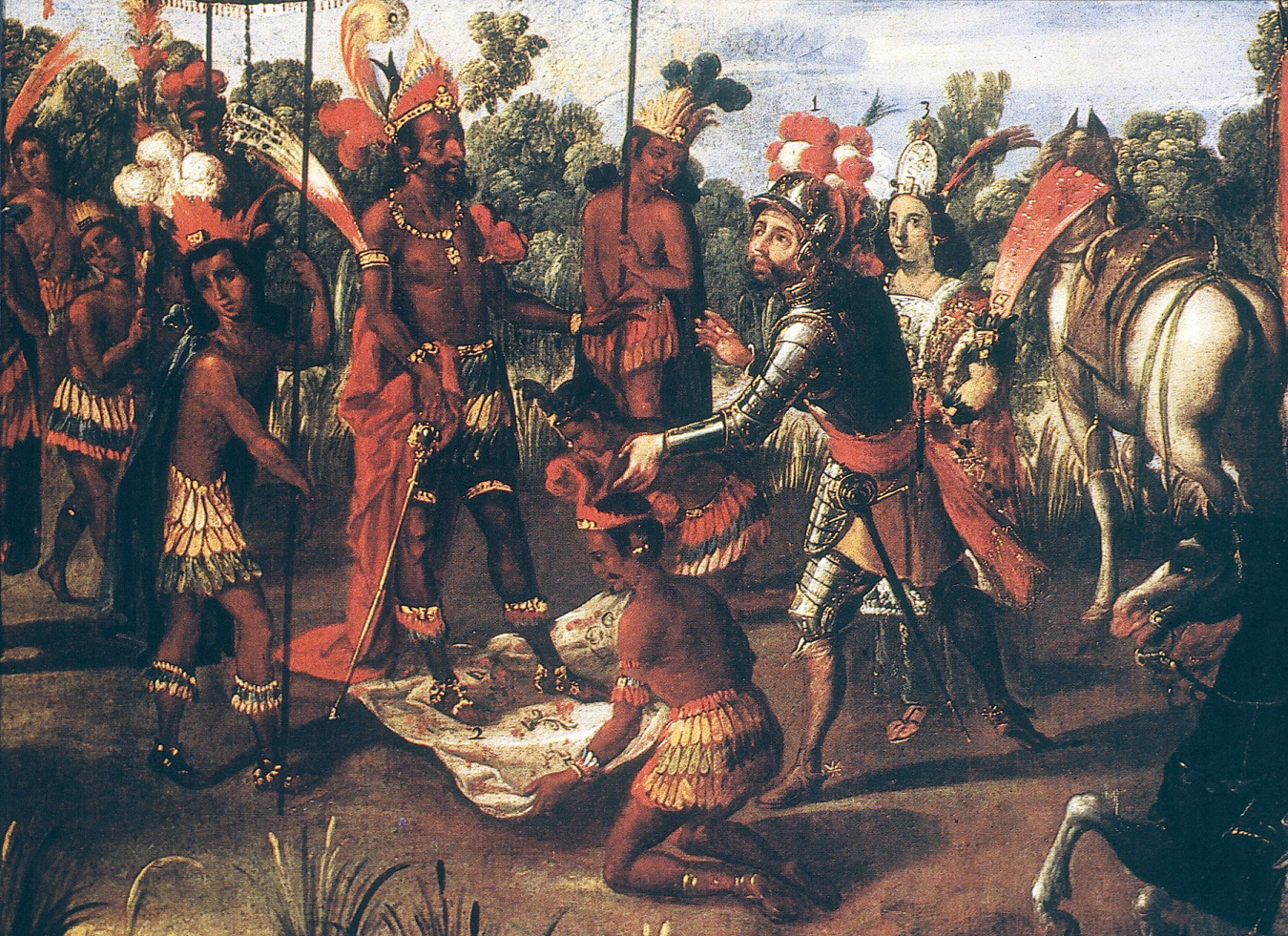 The Meeting of Cortés and Montezuma (detail), from the Conquest of Mexico series, seventeenth century. Jay I. Kislak Collection, Rare Book and Special Collections Division, United States Library of Congress.