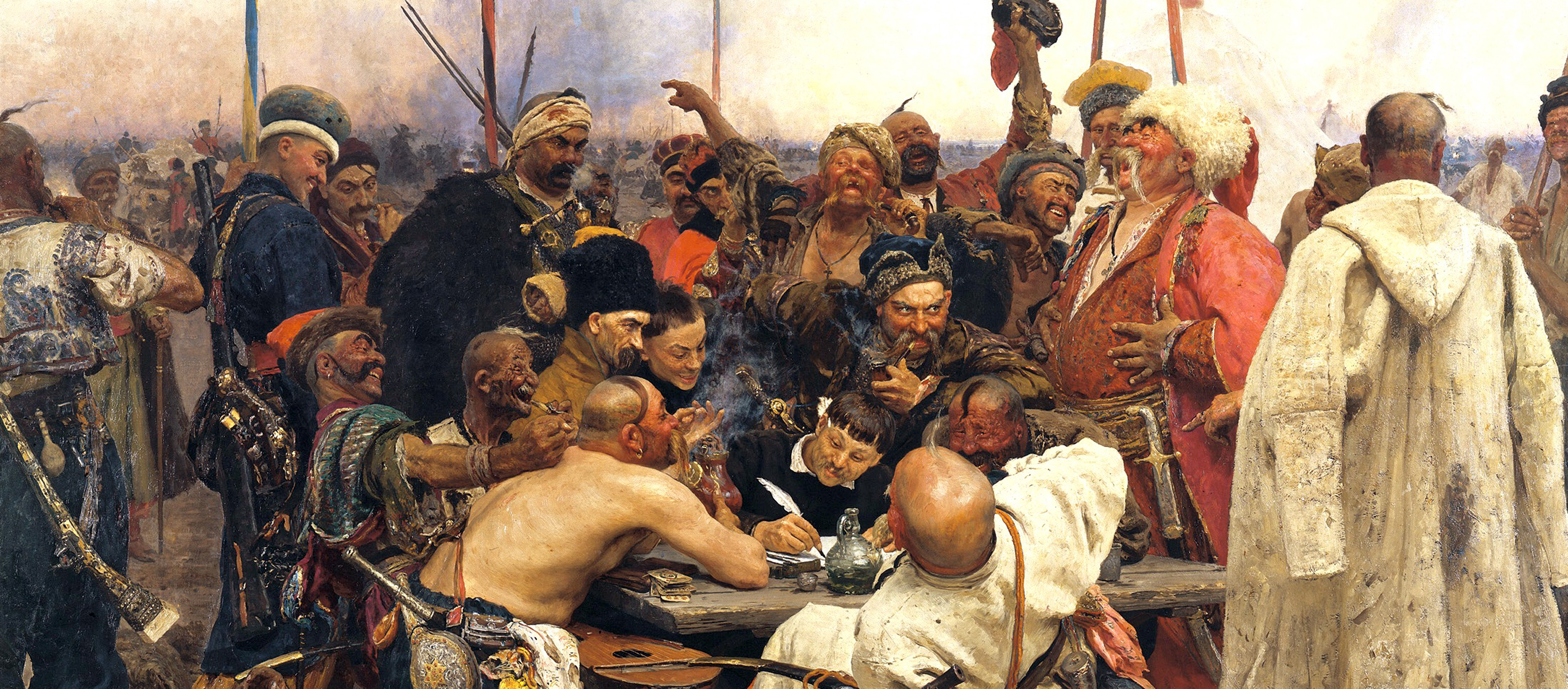 The Zaparozhye Cossacks Writing a Mocking Letter to the Turkish Sultan, by Ilya Repin, c. 1880.