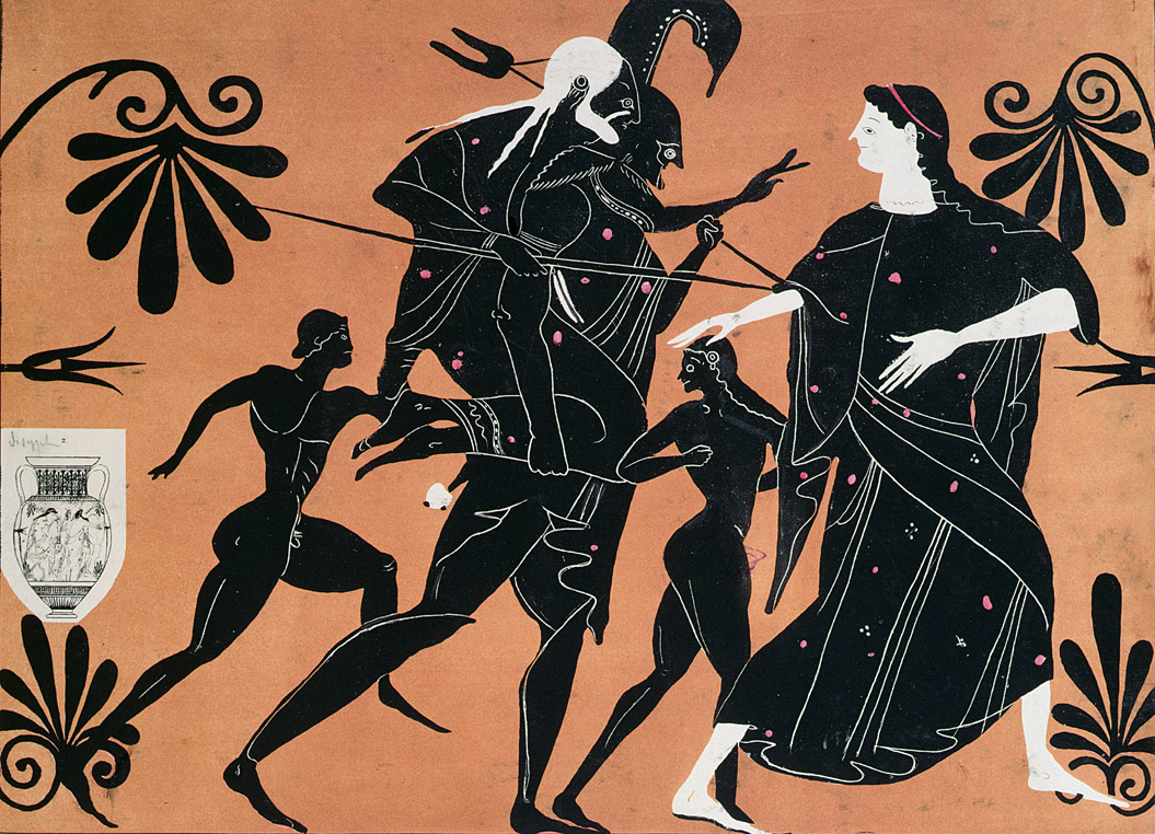 Aeneas fleeing Troy with his father Anchises on his back and sons surrounding him, nineteenth-century French lithograph after a Greek vase.