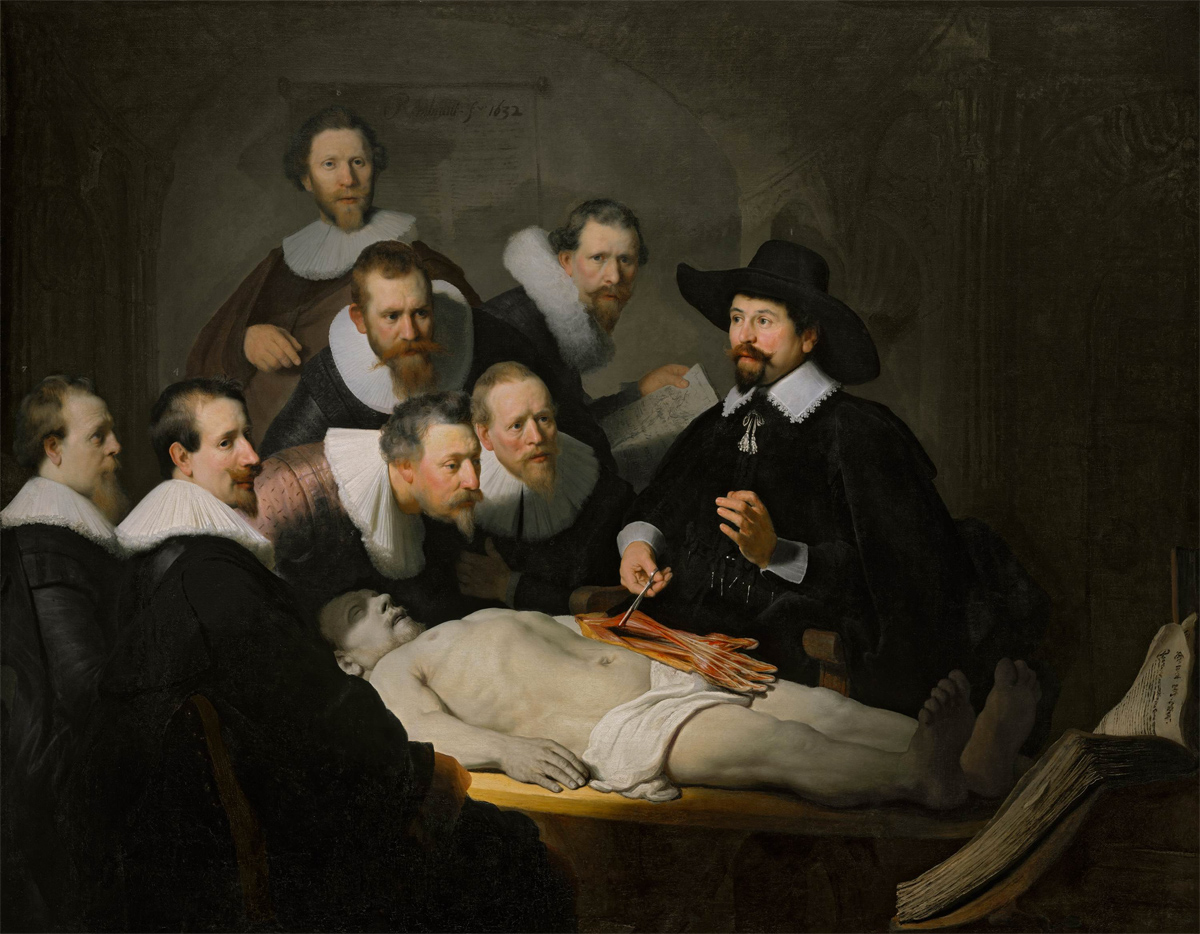 The Anatomy Lesson of Dr. Nicolaes Tulp, by Rembrandt, 1632. Royal Picture Gallery Mauritshuis.