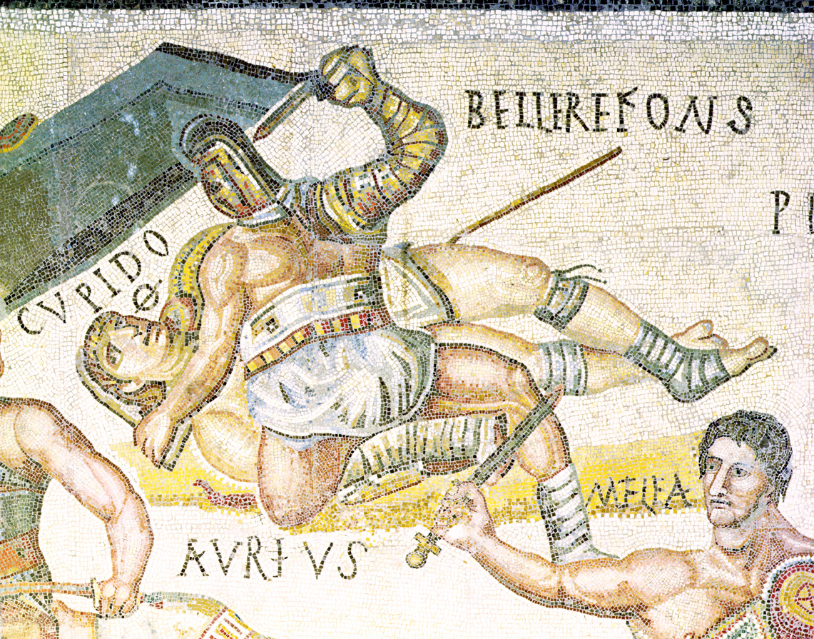 Match between gladiators, Roman mosaic, c. 325. © Galleria Borghese, Rome. Alinari, The Bridgeman Art Library International.