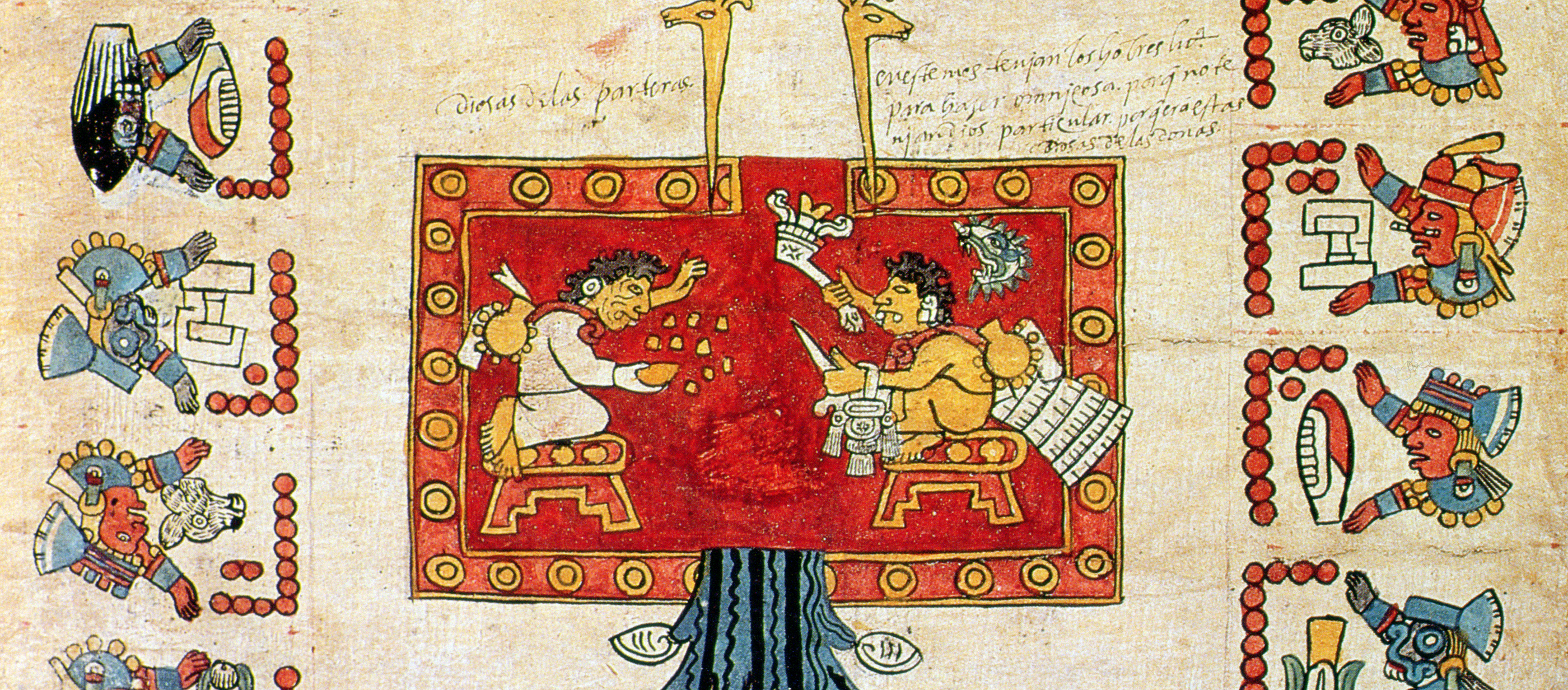 Codex showing the invention of the Aztec calendar.