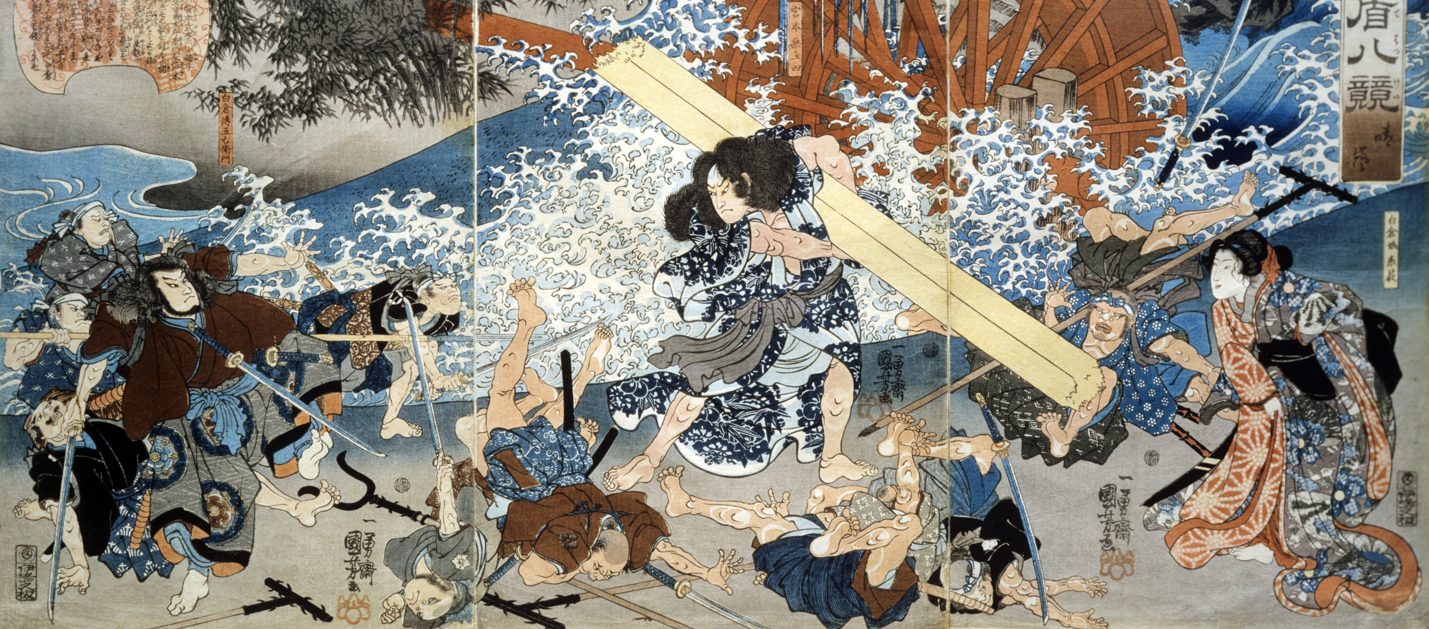 "Miyamoto Musashi, Tokugawa-period warrior known in Japan as the ""sword saint,"" woodcut by Utagawa Kuniyoshi, c. 1838. © Victoria & Albert Museum, London/Art Resource, NY."