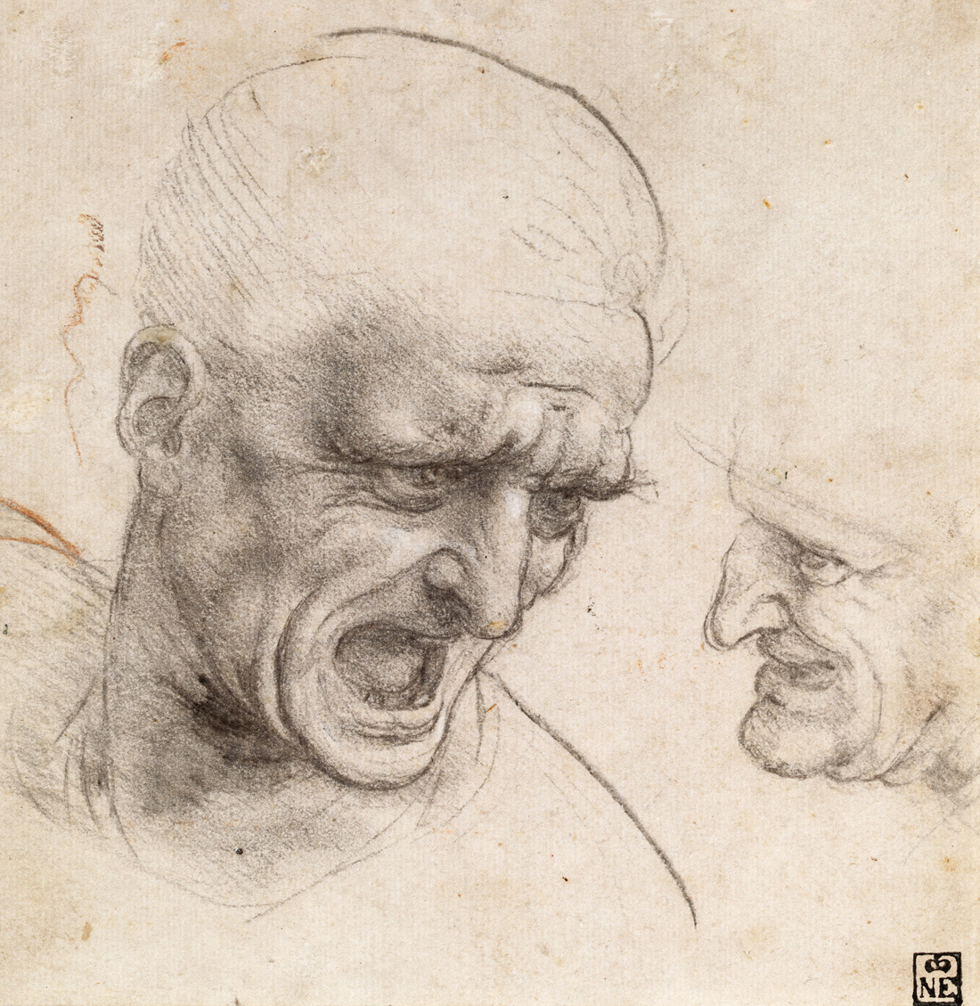 Study of Two Warriors' Heads for the Battle of Anghiari, by Leonardo da Vinci, c. 1504. Museum of Fine Arts, Budapest, Hungary.
