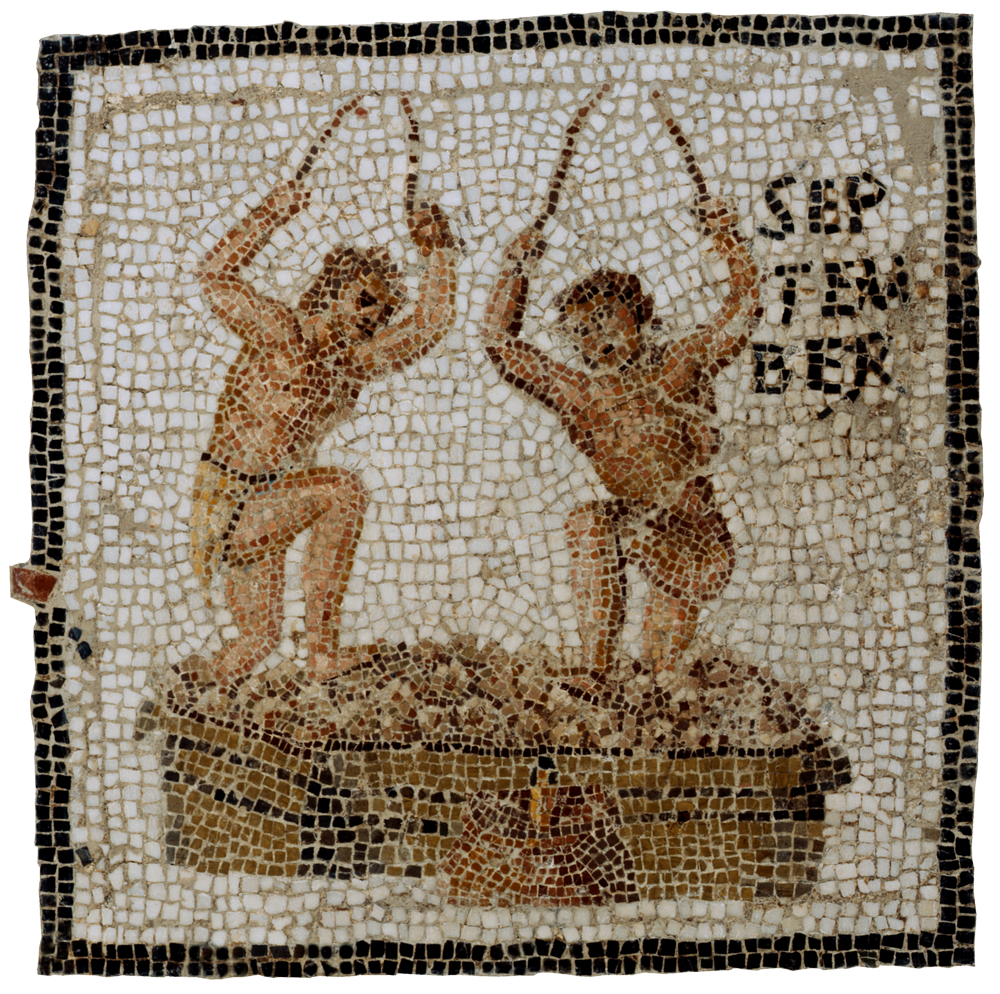 Roman mosaic showing grapes being pressed for wine.