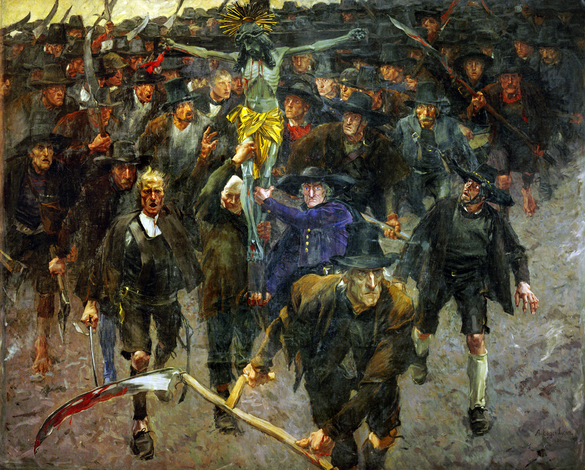 Painting of Tyrolean peasants revolting against French and Bavarian occupation.