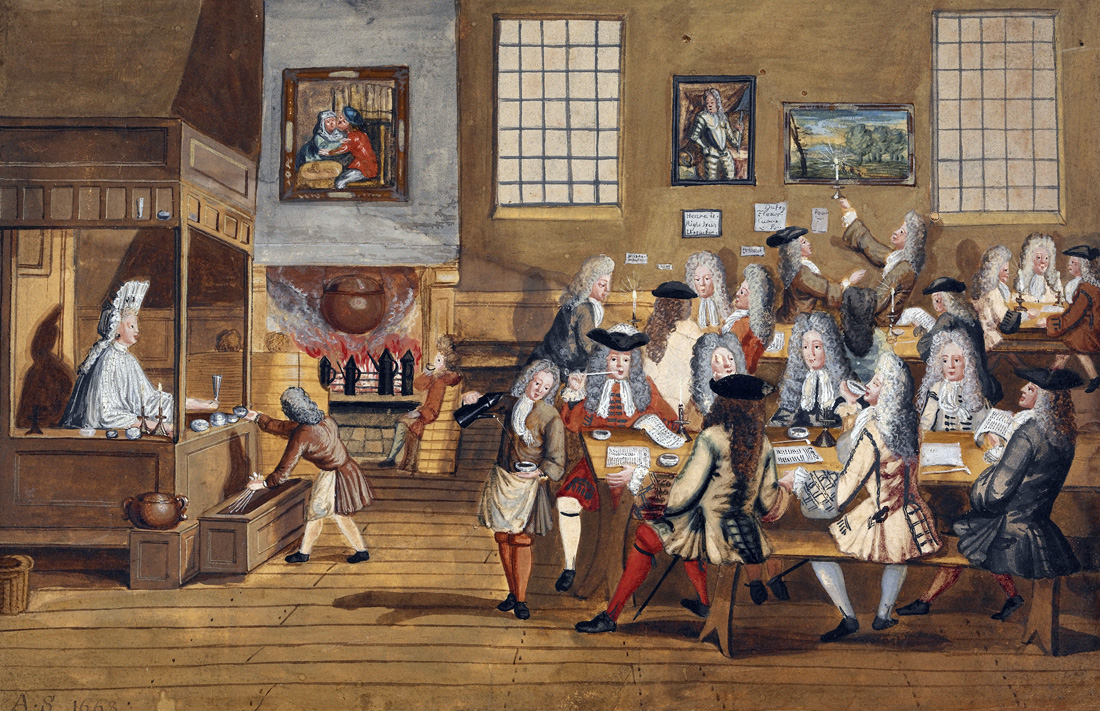 Interior of a London coffeehouse, c. 1700.