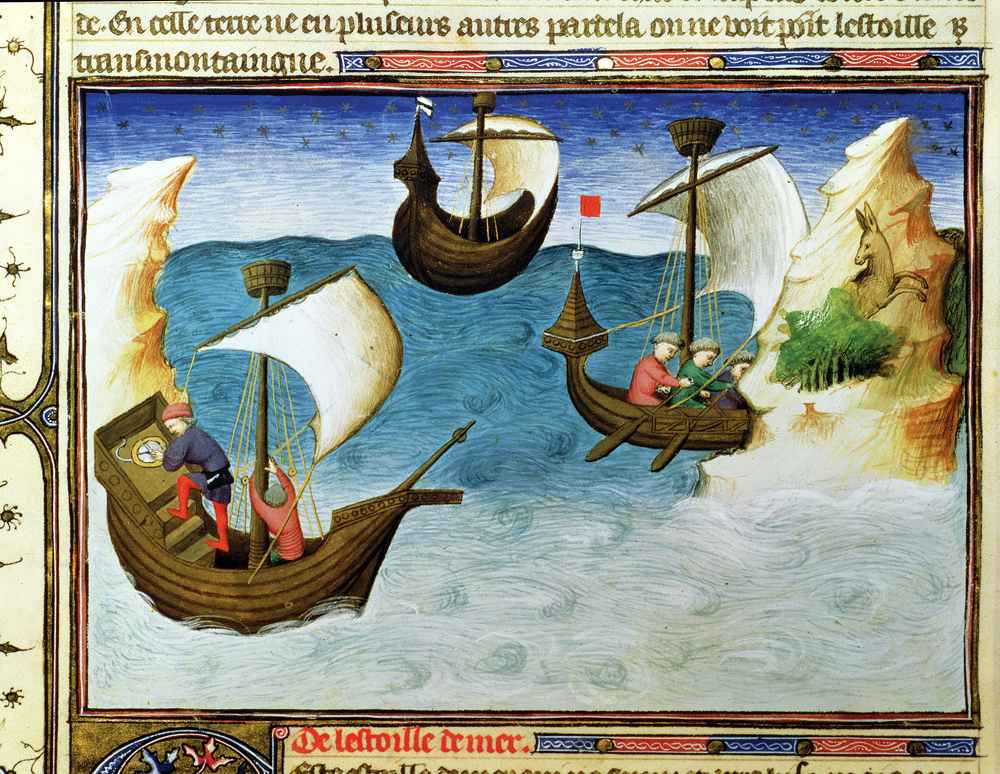 Navigators Using an Astrolabe in the Indian Ocean, miniature from the Book of Wonders and Other Travel Books and Texts About the Orient, by the Boucicaut Master, c. 1410. National Library of France, Manuscripts Department, Paris.