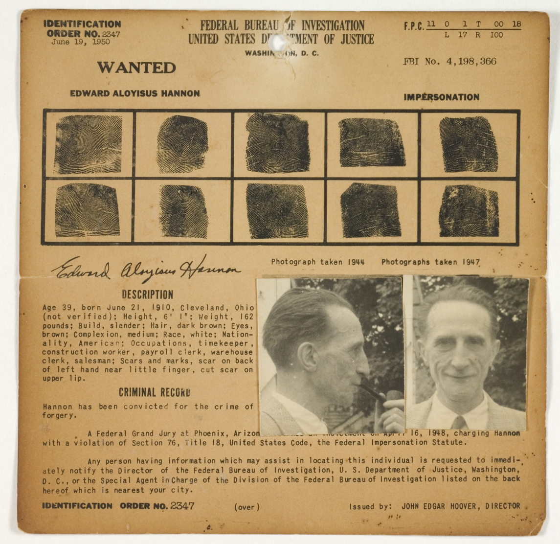 FBI Wanted Notice: Edward Aloyisus Hannon (Marcel Duchamp), Wanted for the Crime of Impersonation, by Julien Levy, c. 1950. © Philadelphia Museum of Art, Pennsylvania, PA, USA/ Bridgeman Images