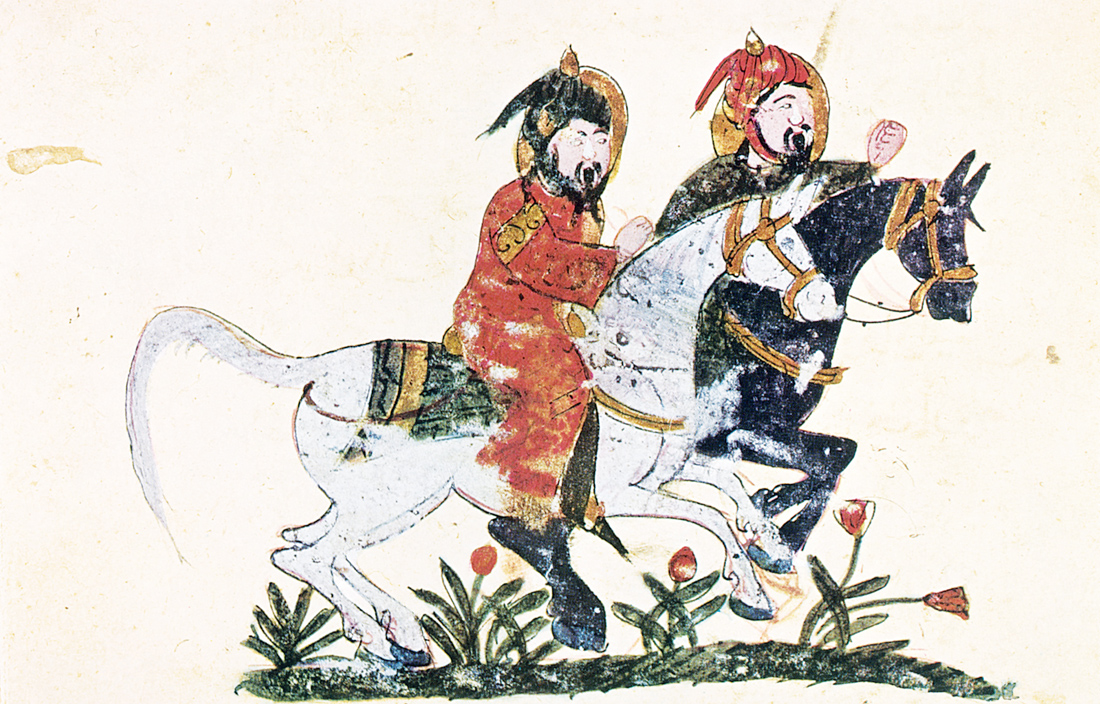 Two horsemen, illumination by Ibn al-Ahnaf from the Book of Farriery, Baghdad, c. 1209. Topkapi Palace Museum, Istanbul, Turkey.