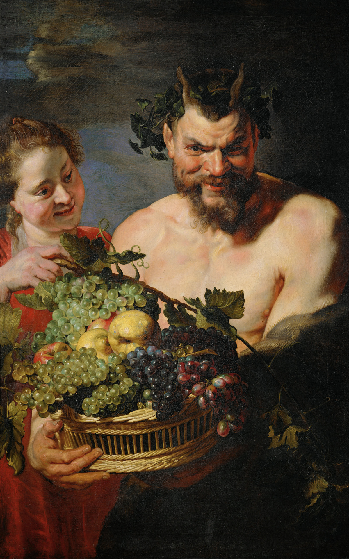 Satyr and Maid with Fruit Basket, by Peter Paul Rubens, c. 1615. Residenzgalerie, Salzburg, Austria.