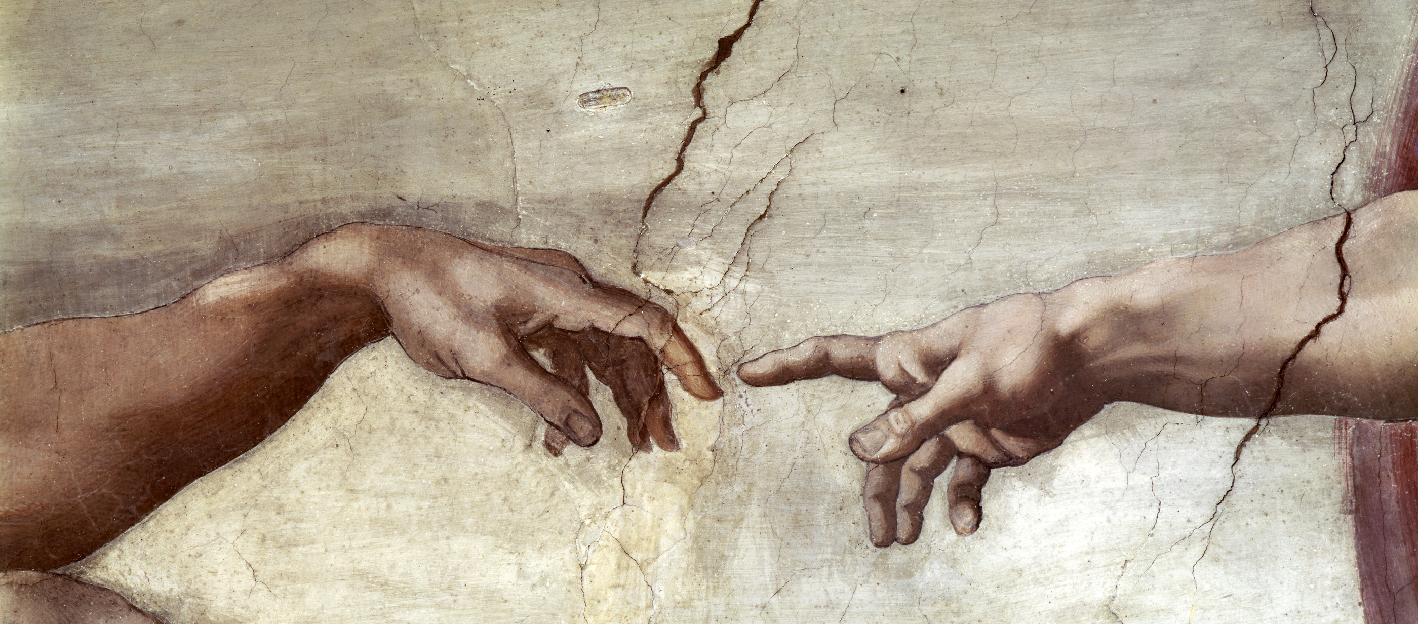 Creation of Adam (detail), Sistine Chapel Ceiling, by Michelangelo, c. 1508–1512. Vatican City, Rome, Italy. (