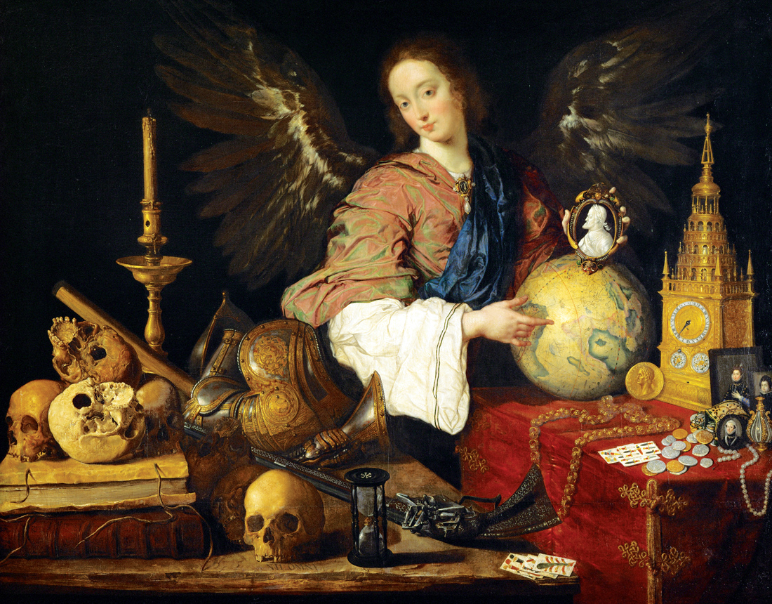 Allegory of Fleeting Time, The angel-genius holds a portrait cameo of Emperor Charles V, by Antonio Pereda, c. 1634. Kunsthistorisches Museum, Vienna, Austria.