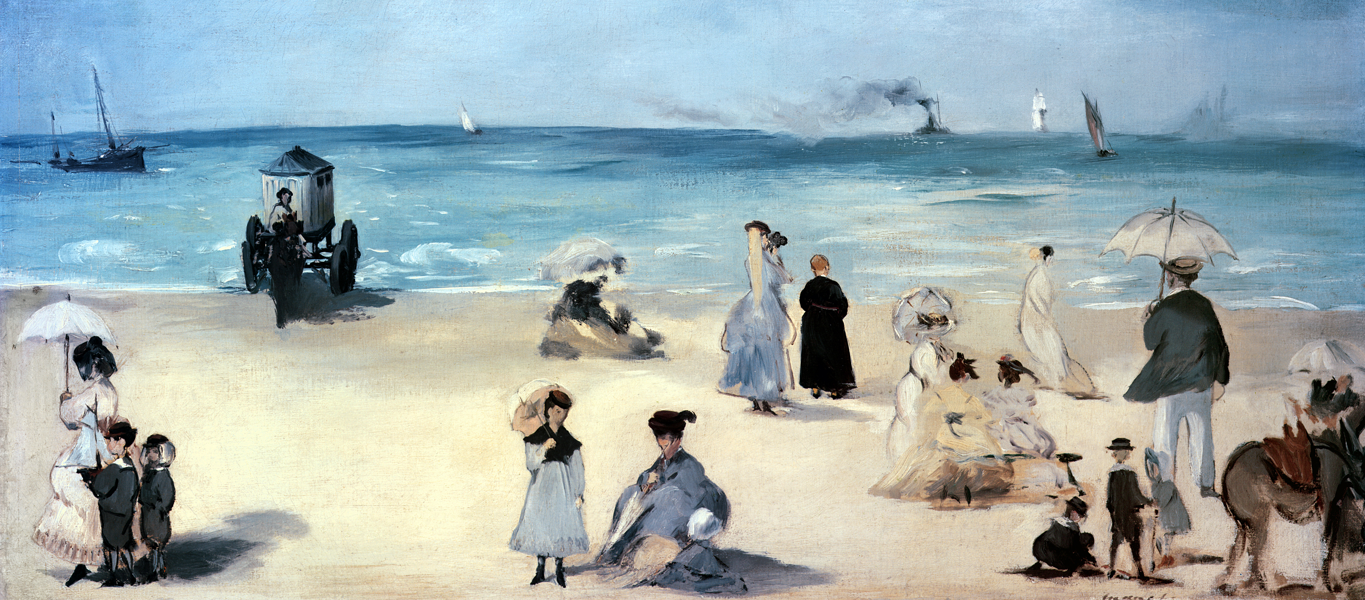 On the Beach, Boulogne-sur-Mer, by Édouard Manet, c. 1869.