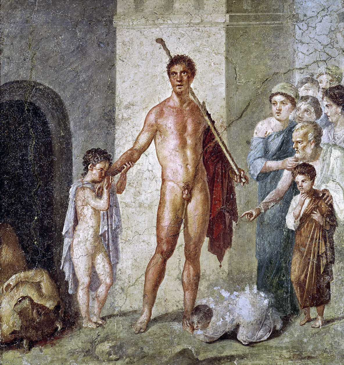Theseus triumphs over the Minotaur, fresco, Pompeii, c. 70. Naples National Archaeological Museum, Italy.