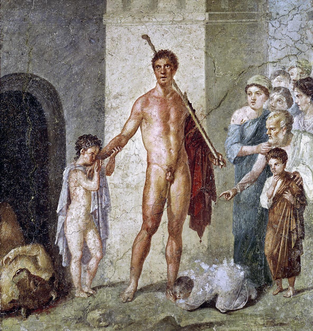 Theseus triumphs over the Minotaur, fresco, Pompeii, c. 70. Naples National Archaeological Museum, Italy.