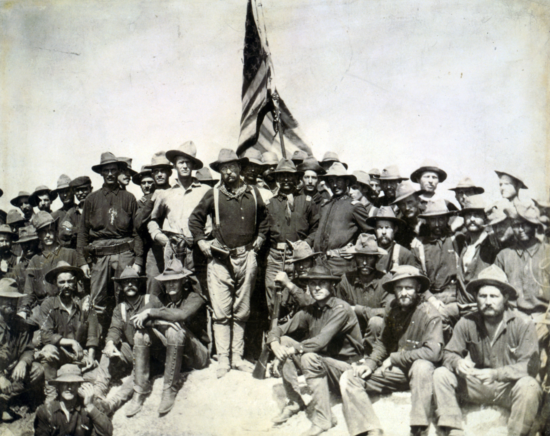 Theodore Roosevelt and his Rough Riders at the top of San Juan Hill, Cuba, 1898. Photograph by William Dinwiddie. United States Library of Congress Prints and Photographs Division Washington, D.C.