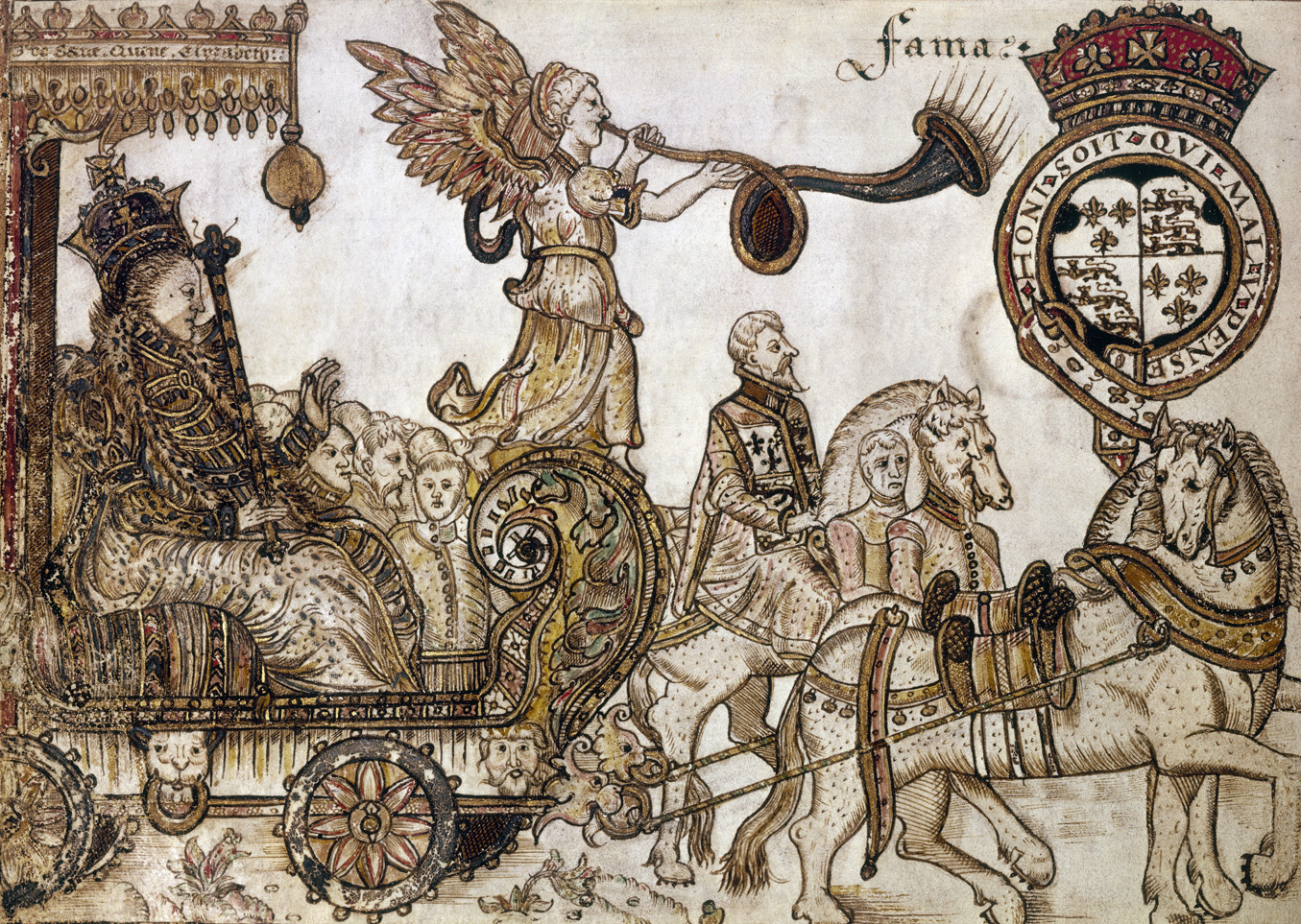 Queen Elizabeth I in procession, her carriage displaying a statue of Fama, from a manuscript dedicated to the queen, by William Teshe, c. 1584.