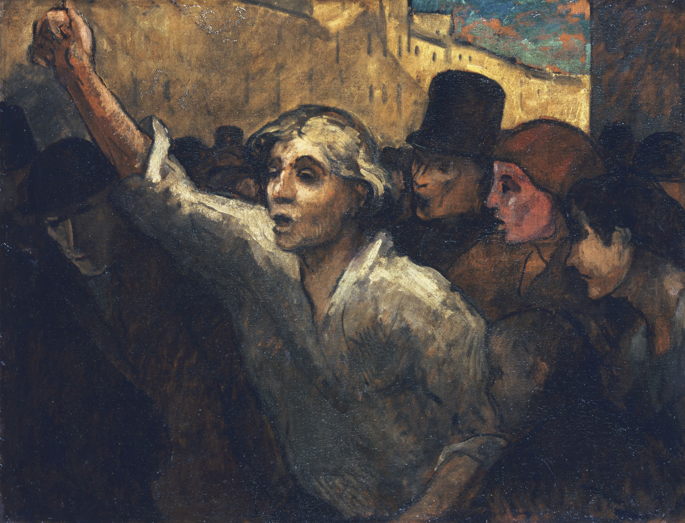 Painting of a young worker with his fist in the air.