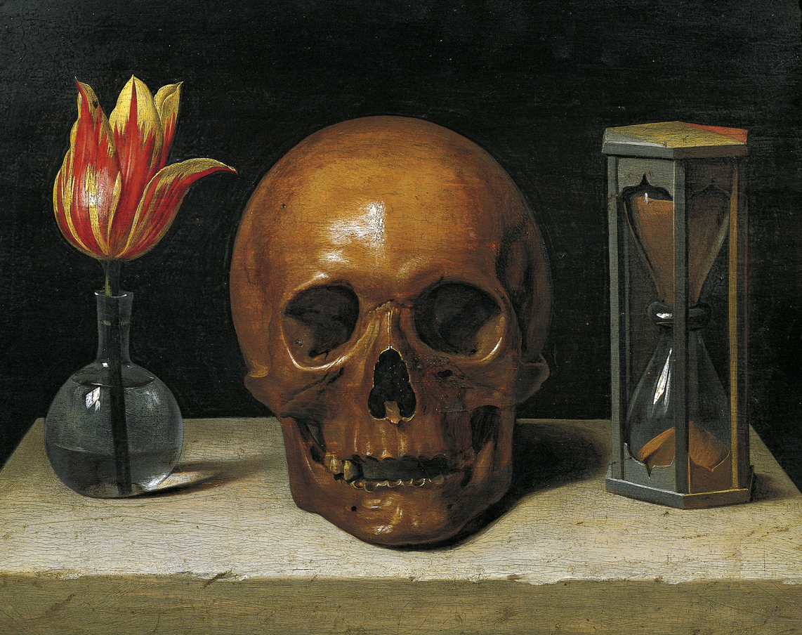 Painting of a skull, hourglass, and a tulip