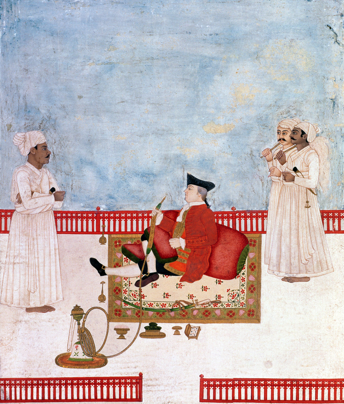 East India Company official with attendants in waiting, by Dip Chand, 1763.