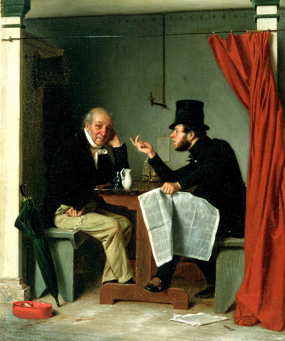 Politics in an Oyster House, by Richard Caton Woodville, 1848. Walters Art Museum, Baltimore, Maryland.
