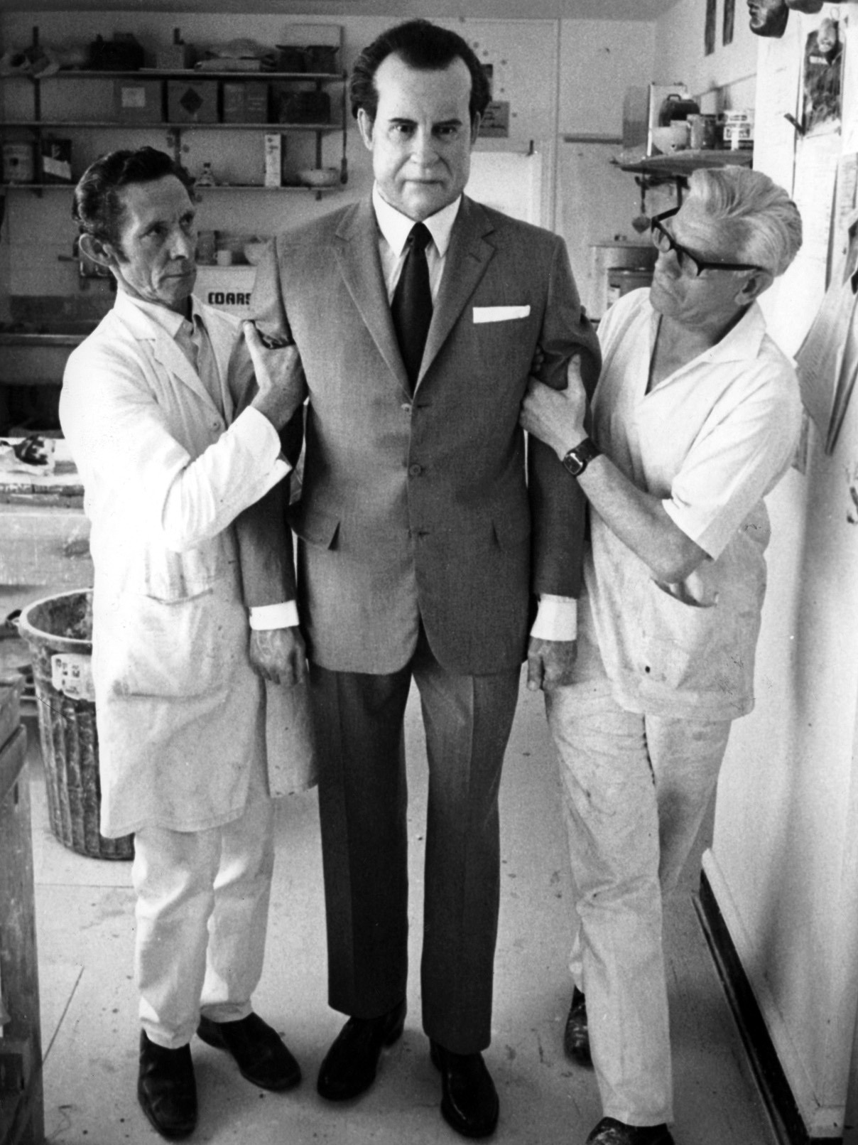 Richard Nixon waxwork being removed from Madame Tussauds, London, 1974. © HIP/ Art Resource, NY