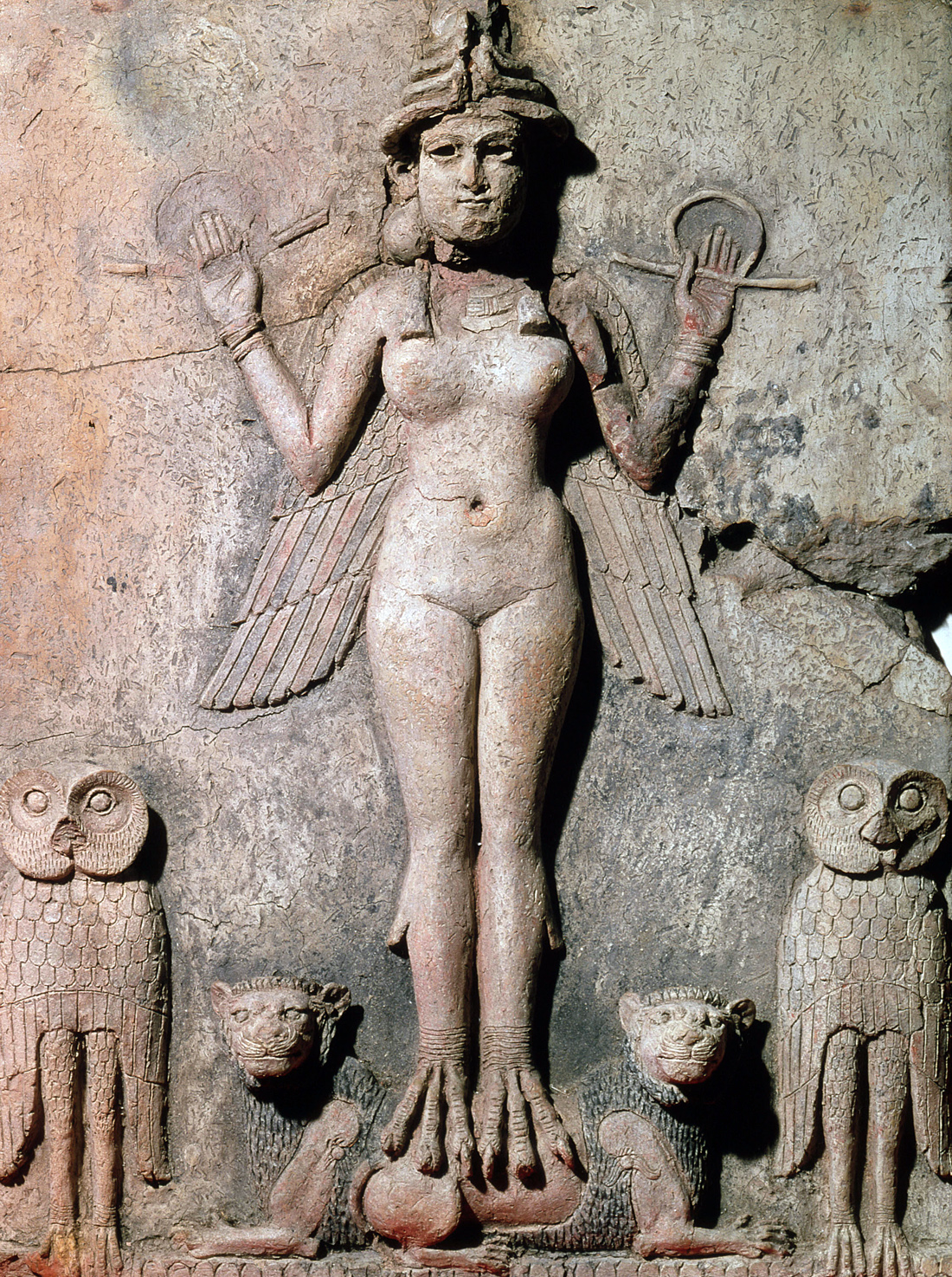 Ishtar, goddess of the heavens, love, and war, with crescent-moon crown and necklace, and lions and owls, Mesopotamia, c. 1775 BC. British Museum, London.