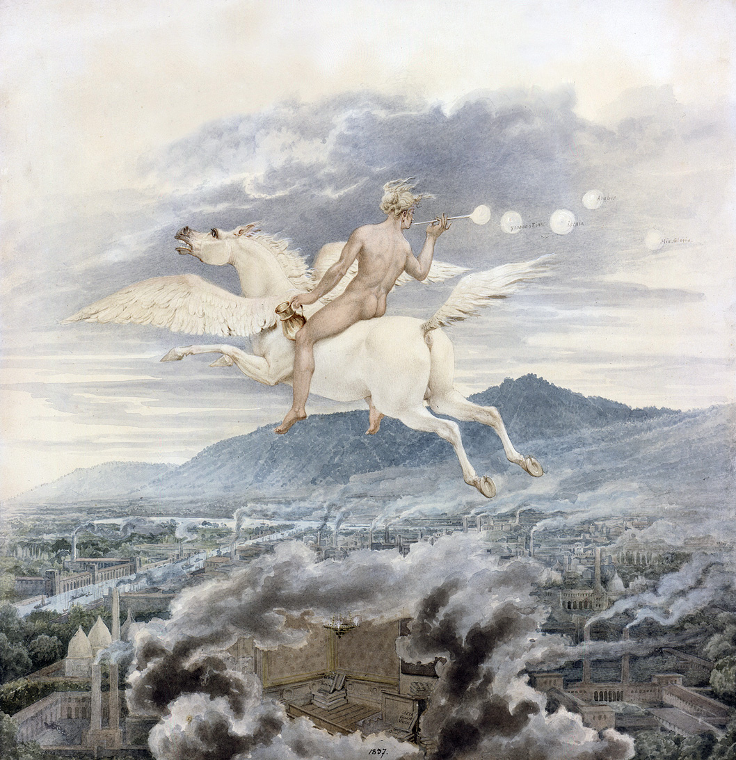 Painting of a naked woman riding a pegasus.