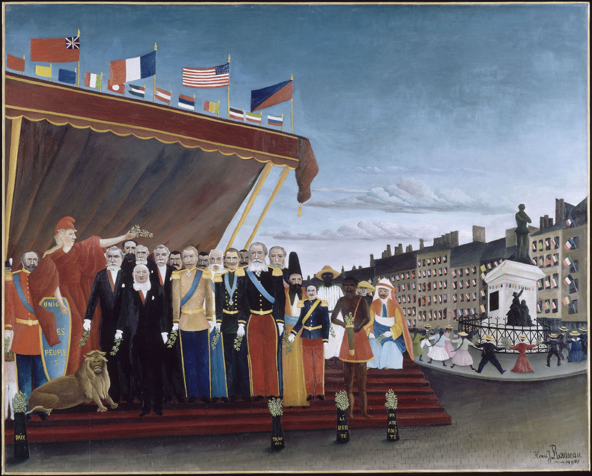 The Representatives of Foreign Powers Coming to Salute the Republic as a Sign of Peace, by Henri Rousseau, 1907. Musée Picasso, Paris.