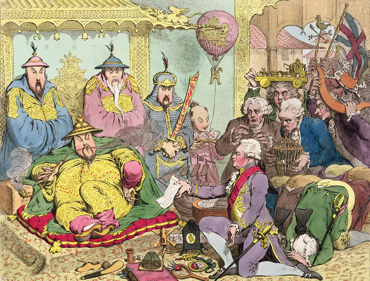 The Reception of the Diplomatique and His Suite, at the Court of Pekin, by James Gillray, 1792