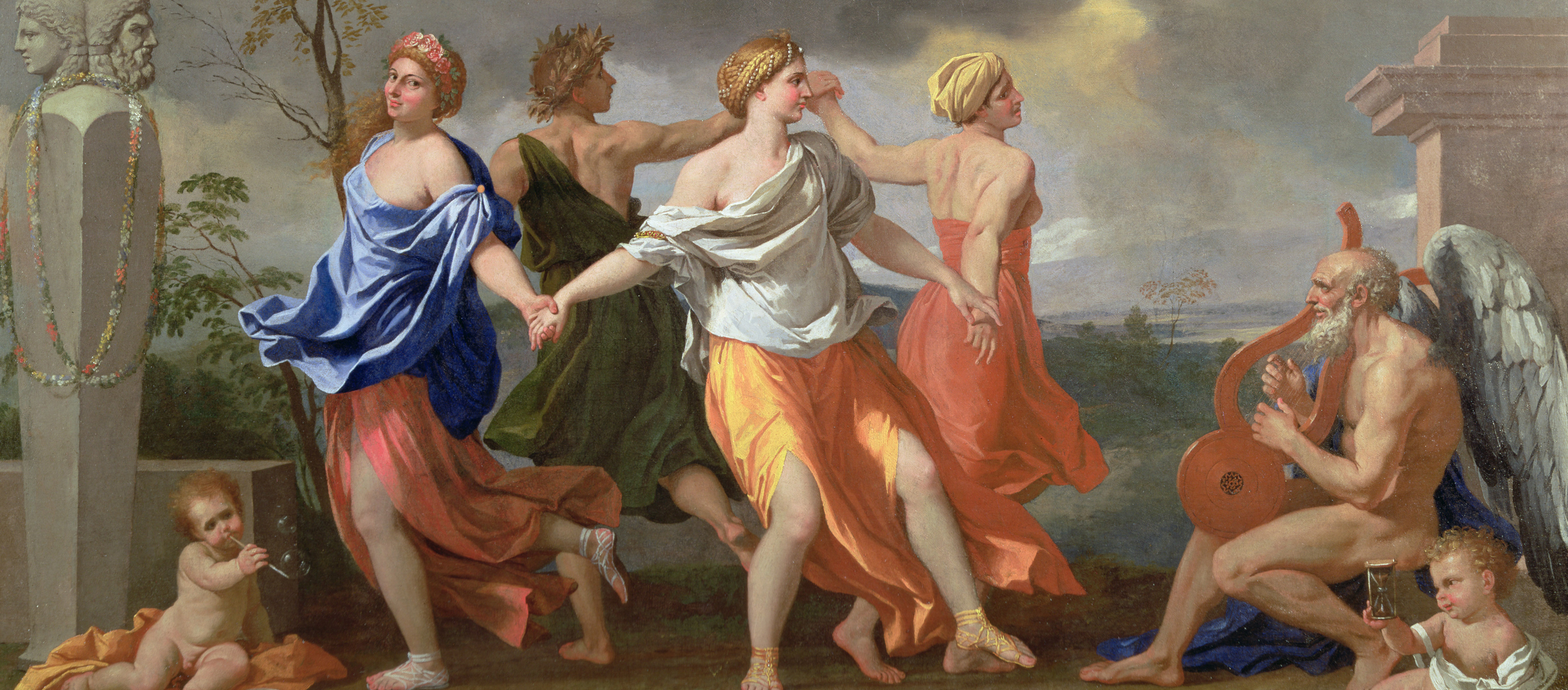 Four women dancing while Father Time looks on.