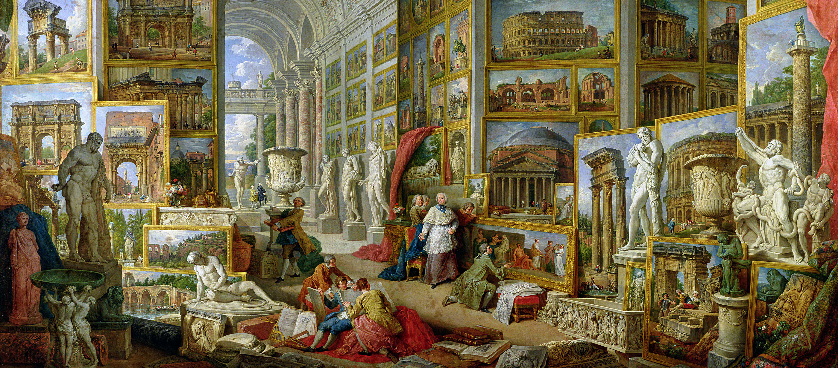 Painting showing an gallery with many paintings of Ancient Rome.