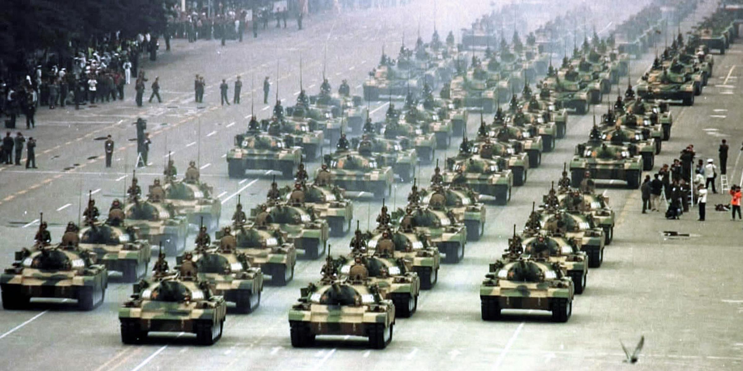 Tank formation, Tiananmen Square, Beijing, 1999. © Sovfoto/UIG/Bridgeman Images.